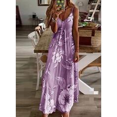Impresión/Floral Sin mangas Acampanado Casual/Bohemio/Vacaciones Maxi Vestidos