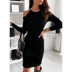 Solid Long Sleeves Bodycon Knee Length Little Black/Elegant Dresses