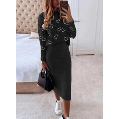 Print/Hart Lange Mouwen Bodycon Potlood Casual Medium Jurken