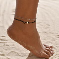 Simple Aleación Cuero cuerda con Estrella Joyas de playa Tobilleras (Juego de 2)