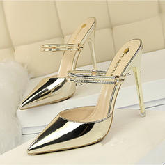 Women's Patent Leather Stiletto Heel Sandals Pumps Closed Toe Slippers shoes