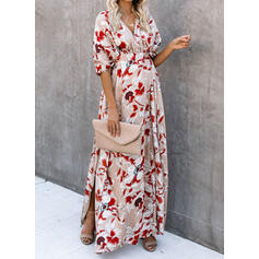 Print/Floral 1/2 Sleeves A-line Skater Casual/Vacation Maxi Dresses