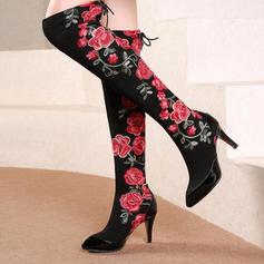 De mujer Cuero de Microfibra Tacón stilettos Botas sobre la rodilla con Flor zapatos