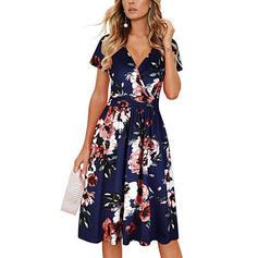 Nadrukowana/Kwiatowy Krótkie rękawy W kształcie litery A Długośc do kolan Casual/Elegancki/Boho/Wakacyjna Sukienki