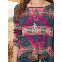 Geometric Print Round Neck Long Sleeves Casual Blouses