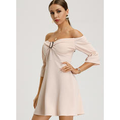 Solid 3/4 Sleeves A-line Above Knee Casual/Elegant Dresses