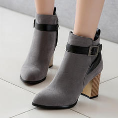 Women's Suede Stiletto Heel Ankle Boots With Buckle Zipper shoes