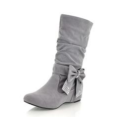 Femmes Suède Talon bas Bottes mi-mollets avec Bowknot chaussures