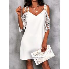 Einfarbig Spitze 1/2 Ärmel silhouette Etuikleider Knielang Lässige Kleidung Tunika Kleider