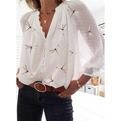 Animal Print V-Neck Long Sleeves Button Up Casual Elegant Blouses