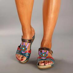 Femmes Similicuir Talon plat Chaussures plates avec Ouvertes chaussures