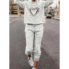 Inima Tisk sportiv Casual Plus mărimea sweatshirts & Ținute din două piese Set ()