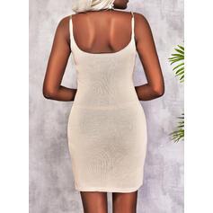 Solid Sleeveless Sheath Above Knee Casual Slip Dresses
