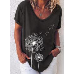 Imprimée Col V Manches Courtes Décontractée T-shirts