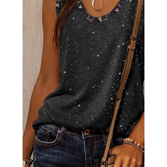 Print Sequins Round Neck Sleeveless Casual Tank Tops