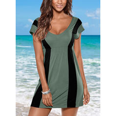 Color Block Cap Sleeve A-line Above Knee Casual Dresses