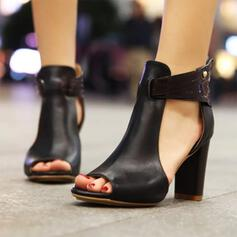 Women's Leatherette Chunky Heel Sandals shoes