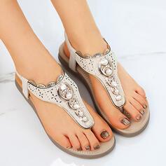 Femmes Similicuir Talon plat Sandales Tongs avec Perle d'imitation chaussures