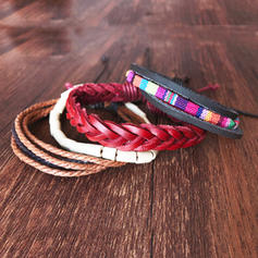 Fashionable Stylish Punk Leather Rope Unisex Bracelets (4 pieces)
