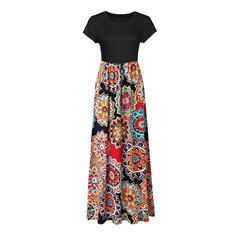 Print/Floral/Patchwork Short Sleeves Sheath Casual Maxi Dresses