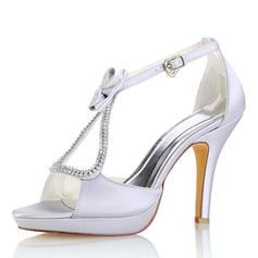 Kvinnor siden som satin Stilettklack Plattform Pumps Sandaler med Bowknot Kristall
