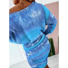 Tie Dye Manga Larga Ajustado Sobre la Rodilla Casual Sudadera Vestidos