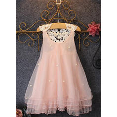 Girls Round Neck Lace Pearls Casual Cute Dress