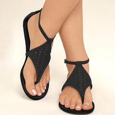 Femmes PU Talon plat Sandales avec Boucle chaussures