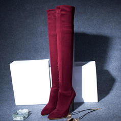Kvinnor Mocka Stilettklack Pumps Stövlar Over The Knee Boots med Zipper skor