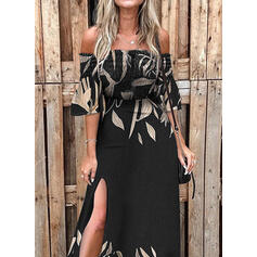 Print 3/4 Sleeves/Flare Sleeves A-line Skater Casual/Vacation Maxi Dresses