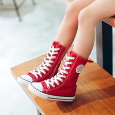 Unisex Leinwand Flache Ferse Geschlossene Zehe Leinwand Flache Schuhe Sneakers & Sport mit Zuschnüren Reißverschluss