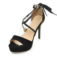 Női Szarvasbőr Tűsarok Szandál Emelvény -Val Lace-up cipő
