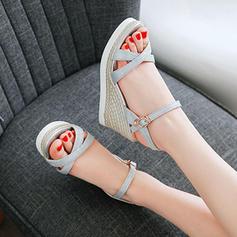 Femmes Pailletes scintillantes Talon compensé Sandales Compensée À bout ouvert Escarpins avec Boucle chaussures