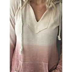 Gradient Pockets Long Sleeves Hoodie
