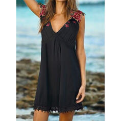 Lace/Print/Floral Sleeveless Shift Above Knee Casual/Vacation Tank Dresses
