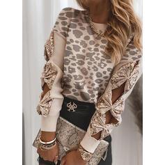 Leopard Pailletten Rundhalsausschnitt Freizeit Pullover