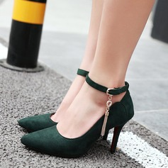 Women's Suede Stiletto Heel Pumps With Buckle Tassel shoes