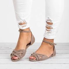 Similicuir Talon plat Sandales Chaussures plates À bout ouvert avec Lanière tressé chaussures