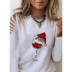 Распечатать Блестки Холодный прием Длинные рукова Повседневная рождество Блузы