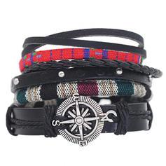 In de mode Stijlvol Punker Touw uit Leder Uniseks Fashion Armbanden (4 stuks)