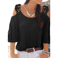 Solid Lace Cold Shoulder 3/4 Sleeves Casual T-shirts
