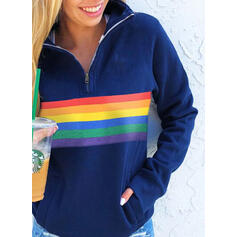 Color Block Lapel Long Sleeves Sweatshirt