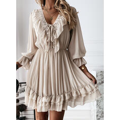 Lace/Solid Long Sleeves A-line Above Knee Elegant Skater Dresses