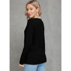 Solid Round Neck Long Sleeves Casual Sexy Blouses