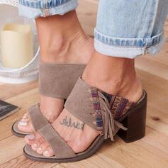 Donna PU Tacco spesso Sandalo Punta aperta Ciabatte con Nappa scarpe