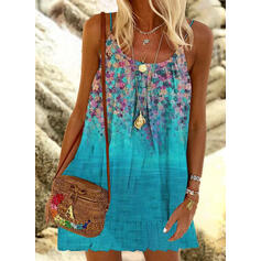 Print/Floral Sleeveless Shift Above Knee Vacation Slip Dresses