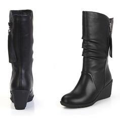 De mujer PU Tipo de tacón Cerrados Cuñas Botas con Cremallera zapatos