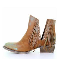 Vrouwen PU Low Heel Pumps Closed Toe Laarzen met Tassel schoenen