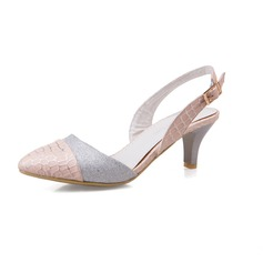 Women's Leatherette Sparkling Glitter Cone Heel Pumps Closed Toe shoes