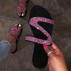 Női PU Lapos sarok Szandál Lakások Peep Toe Papucs -Val Flitter cipő